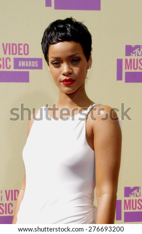 Rihanna at the 2012 MTV Video Music Awards held at the Staples Center in Los Angeles, United States on September 6, 2012. - stock photo