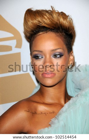 Rihanna at The Recording Academy and Clive Davis Present The 2010 Pre-Grammy Gala - Salute To Icons, Beverly Hilton Hotel, Beverly Hills, CA. 01-30-10 - stock photo