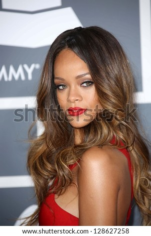 Rihanna at the 55th Annual GRAMMY Awards, Staples Center, Los Angeles, CA 02-10-13 - stock photo