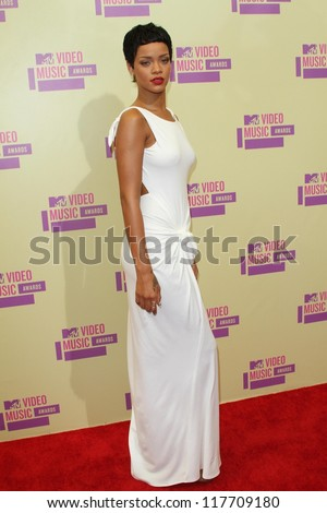 Rihanna at the 2012 Video Music Awards Arrivals, Staples Center, Los Angeles, CA 09-06-12 - stock photo