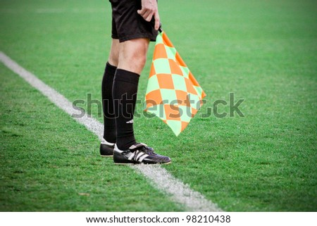 "RIJEKA, CROATIA - MARCH 21: line referee on soccer match between ""NK Rijeka"" and ""NK  Hajduk"" . First Croatian Football League. March 21 2012 in Rijeka, Croatia - stock photo"