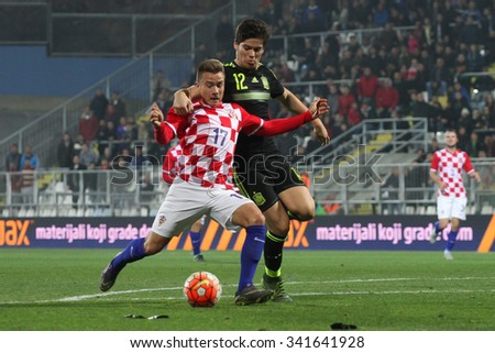 RIJEKA, CROATIA NOVEMBER 17: Group G qualifiers: Fran Tudor and Jorge Mere on soccer match between Croatia and Spain (U-21) on Nevember 17, 2015 in Rijeka - stock photo