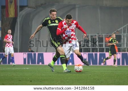 RIJEKA, CROATIA NOVEMBER 17: Group G qualifiers: Mateo Kovacic on a soccer match between Croatia and Spain (U-21) on Nevember 17, 2015 in Rijeka - stock photo