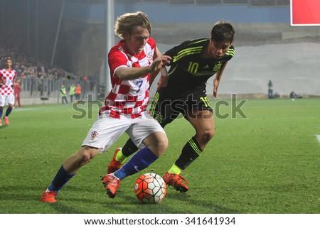 RIJEKA, CROATIA NOVEMBER 17: Group G qualifiers:  soccer match between Croatia and Spain (U-21), Alen Halilovic on Nevember 17, 2015 in Rijeka - stock photo