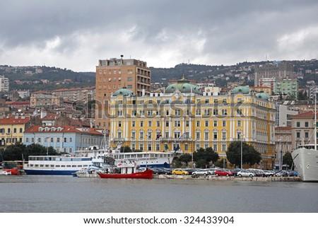RIJEKA, CROATIA - OCTOBER 17: Jadrolinija Headquoters Building in Rijeka on OCTOBER 17, 2014. Biggest Maritime Shipping Company in Rijeka, Croatia. - stock photo
