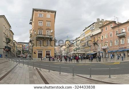 RIJEKA, CROATIA - OCTOBER 17: Korzo in Rijeka on OCTOBER 17, 2014. Main Walking Street in Downtown Rijeka, Croatia. - stock photo
