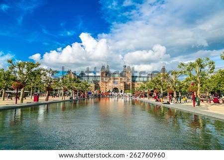 Rijksmuseum Amsterdam museum with words I Amsterdam - stock photo
