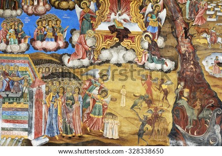 Rila, Bulgaria - October 05, 2015 - Orthodox Religious painting, icon in Bulgarian Rila monastery, UNESCO heritage, cultural monument - stock photo