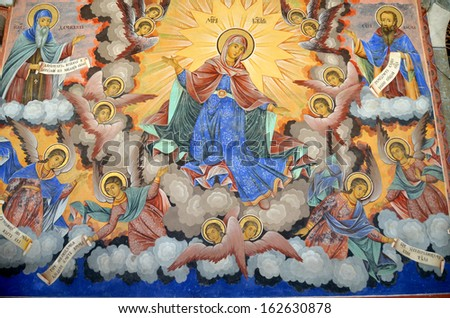 RILA, BULGARIA SEPTEMBER 27: Wall painting at Rila Monastery church. The monastery is the largest in Bulgaria and a UNESCO World Heritage site. on September 27 2013 in Rila, Bulgaria. - stock photo