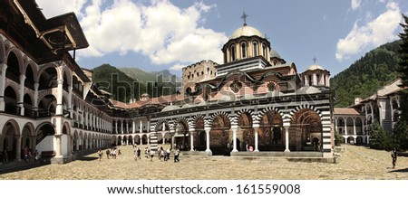 Rila Monastery in Bulgarian Mountains/The Monastery of Saint Ivan of Rila - stock photo