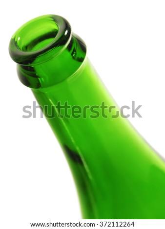 Rim of green empty bottle, on white background. - stock photo