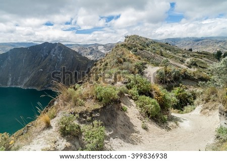 Rim of Quilotoa crater, Ecuador - stock photo