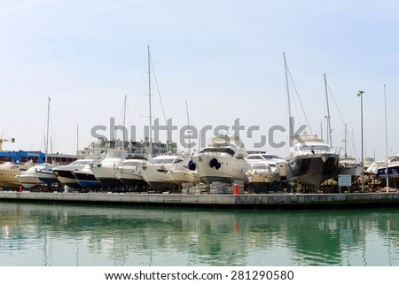 RIMINI, ITALY - APRIL 13: Yachts at berth on April 13, 2015 in Rimini, Italy.