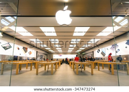 RIMINI, ITALY - DECEMBER 05, 2015: Apple store located in a shopping center on Via Caduti di Nassiriya Rimini, ITALY. Apple Inc  sells computer and electronic devices by a modern global retail chain - stock photo
