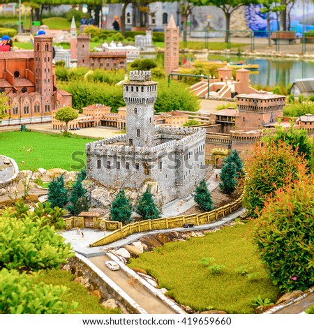 RIMINI, ITALY - MAY 11, 2016:  Italy in miniature, a thematic park in Emilia Romagna. It was found by Ivo Rambaldi in 1970
