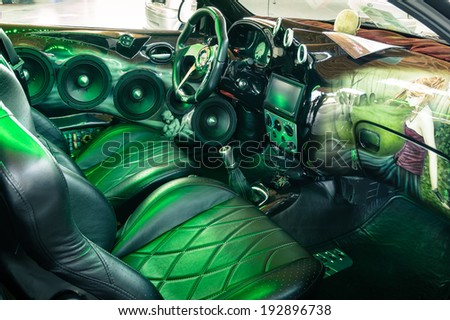 """RIMINI, ITALY - MAY 10, 2014: tuned car interior exposed at """" My Special Car Show """" which is a tuning motorshow that takes place every year in the Rimini Fiera business space.  - stock photo"""