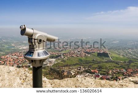 Rimini view from San Marino fortress - Adriatic Coast, Italy - stock photo