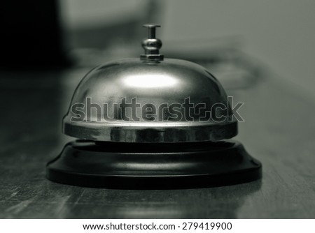 ring bell closeup on table