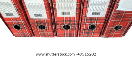 Ring binders file folders red document box - stock photo