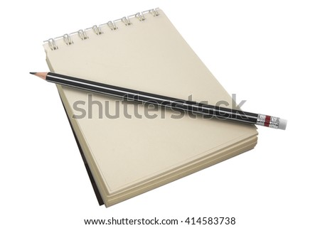Ring bound scratch pad and pencil with builtin eraser isolated on white - stock photo