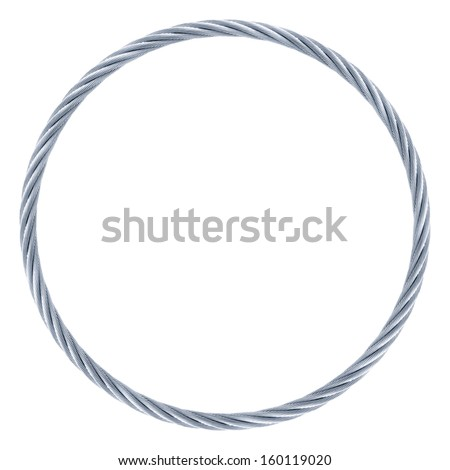 Ring endless steel rope isolated on white background. - stock photo