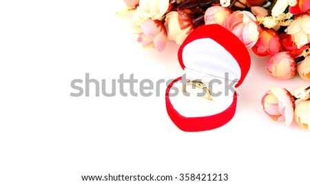 Ring in Heart-Shaped  Box. Valentine`s Day Background