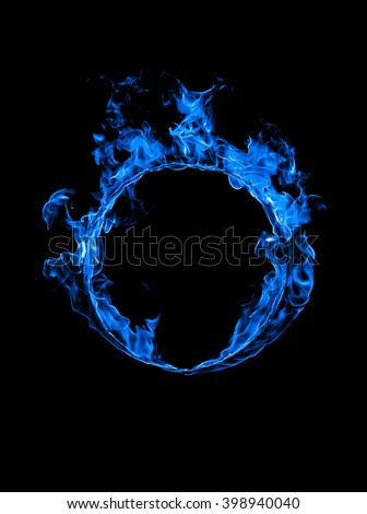 Ring of blue fire in black background - stock photo