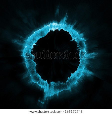 Ring of blue fire on black background - stock photo