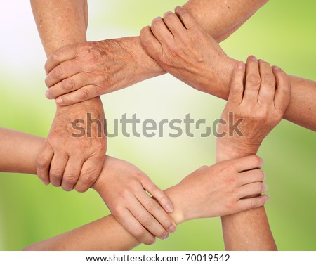 Ring of hands - stock photo
