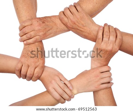 Ring of hands teamwork - stock photo