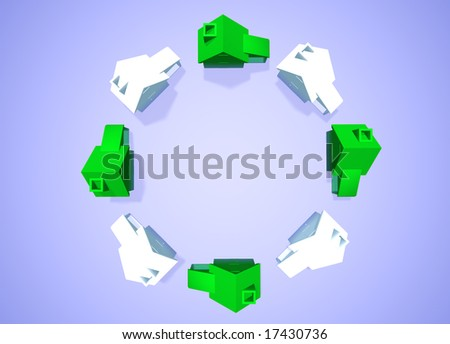 Ring of White and Green Houses in Circle showing Environmental Friendly Houses Abstract Neighbourhood