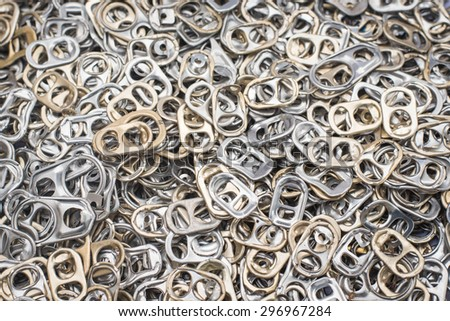 Ring pull aluminum of cans. - stock photo