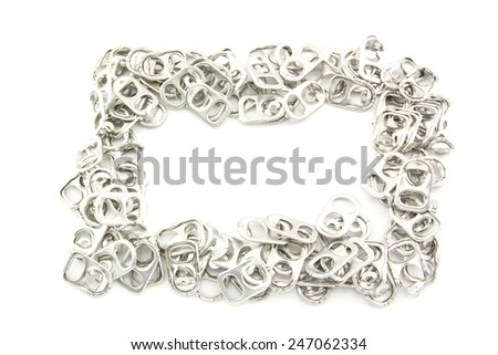 ring pull aluminum of cans isolated on white background - stock photo