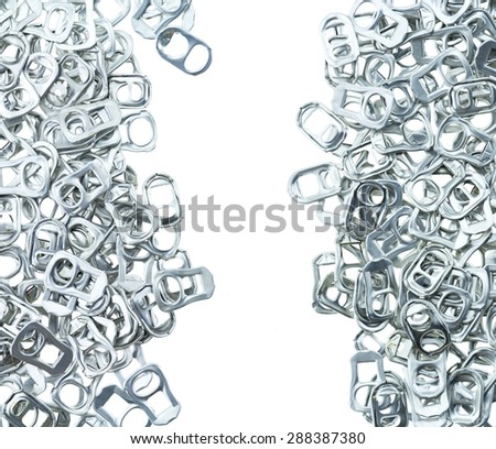 Ring pull aluminum of cans on white background - stock photo