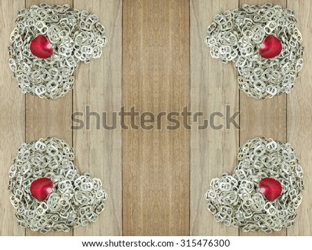 Ring pull aluminum of cans on wooden background and for add text - stock photo