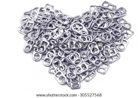 Ring pull aluminum of cans stack as heart shape indicate of new hope on white background processed in tinted photo in blue tone - stock photo