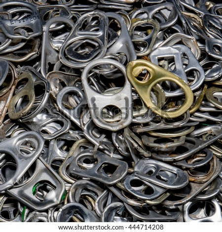 Ring pull background, Lid Cans, Background of many ring pull cans opener, silver, bronze - stock photo