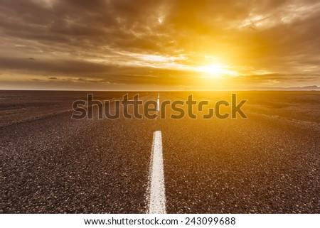 Ring road around Iceland  - stock photo