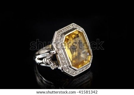 ring with big stone - stock photo