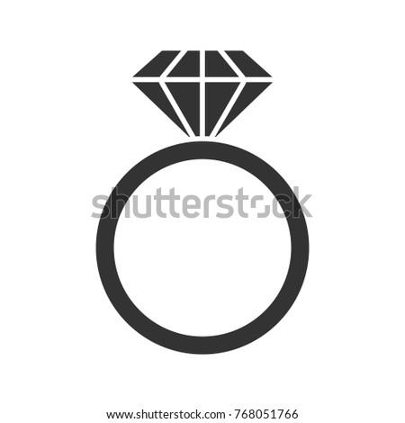 Ring Diamond Glyph Icon Silhouette Symbol Stock Illustration