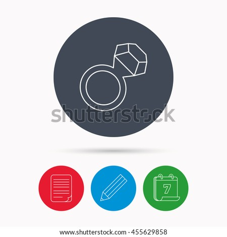 Ring with diamond icon. Jewellery sign. Calendar, pencil or edit and document file signs.  - stock photo