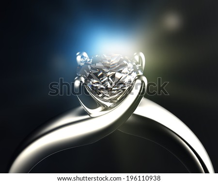 Ring with diamond isolated on gray background - stock photo