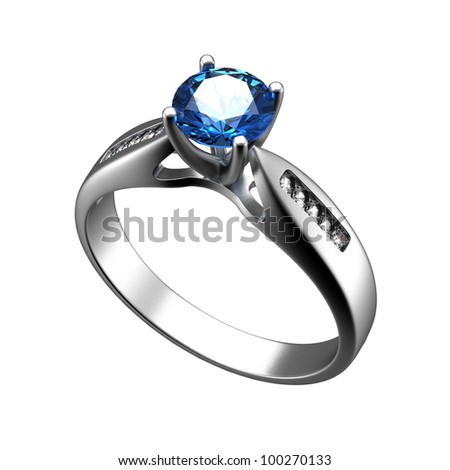 Ring with diamond isolated on white background. Swiss blue topaz. aquamarine. Grandidierite