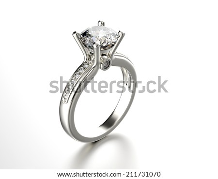 Ring with Diamond. Jewelry background - stock photo