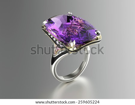 Ring with Diamond. Jewelry background. Amethyst