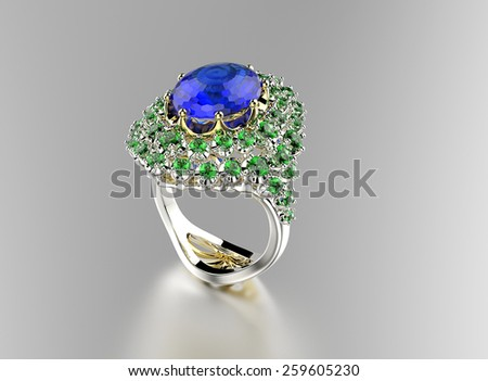 Ring with Diamond. Jewelry background. Sapphire - stock photo