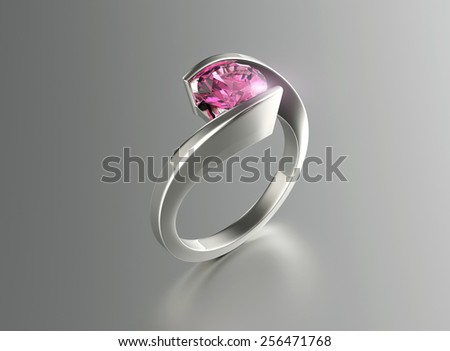 Ring with Diamond. Jewelry background. Valentine and wedding day. Amethyst