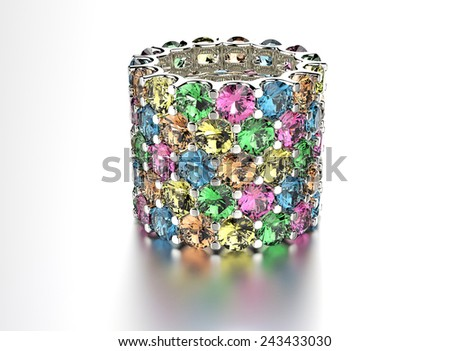 Ring with different color Diamond. Jewelry background. Valentine day - stock photo
