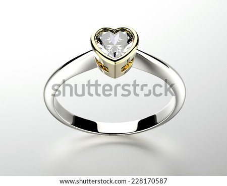 Ring with gemstone heart shape. Jewelry background