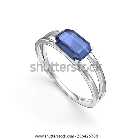 ring with gemstone isolated - stock photo